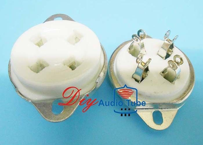 Ceramic Material Vacuum Tube Sockets U4A 4 Pin Tube Socket For 300B , 2A3 , 811