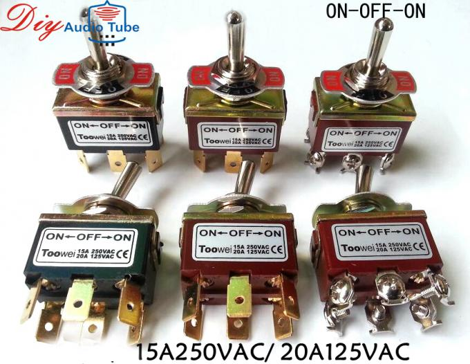 6 pins toowei toggle switch ON-ON ON-OFF-ON Power Switch for Guitar AMP 250VAC 15A 125VAC 20A