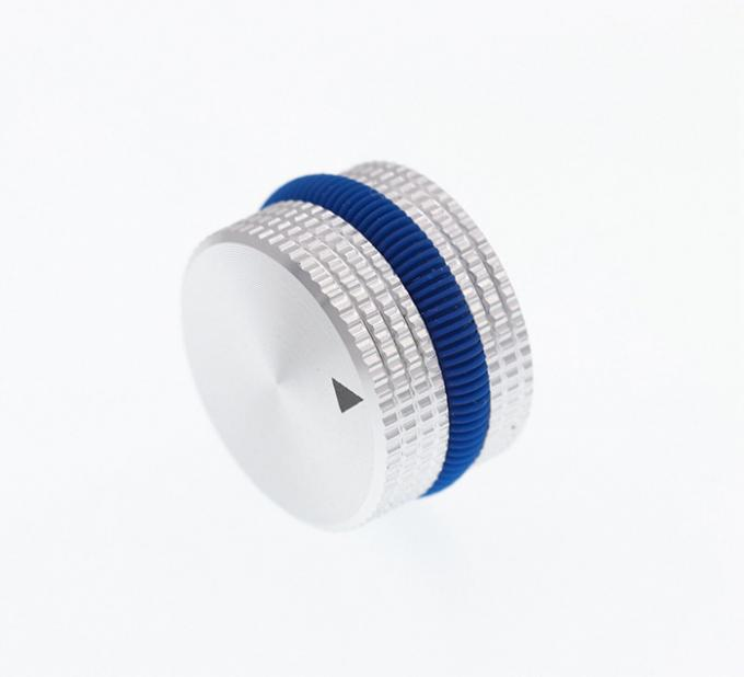 25x15.5mm Silver Full Aluminum Knobs With Blue Rubber ring 6mm Shaft Hole